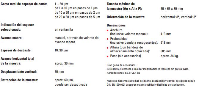 Especificaciones Tecnicas Microtomo RM2235