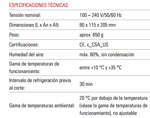 Especificaciones Tecnicas RM CoolClamp