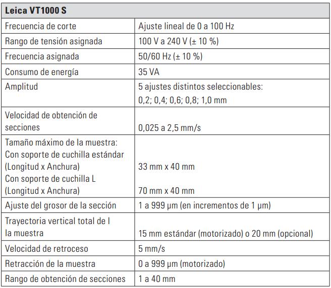 Especificaciones Tecnicas Microtomo VT1000 S